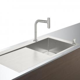 Hansgrohe C71 sink combination 450 with draining board stainless steel look