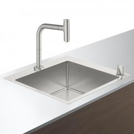 Hansgrohe C71 sink combination 450 W: 55 D: 50 cm stainless steel look