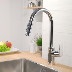 Hansgrohe Focus M41 single lever kitchen mixer 240 with pull-out spray and sBox chrome