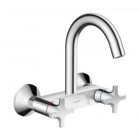 Hansgrohe Logis M32 wall-mounted, two lever kitchen mixer, Highspout