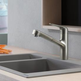 Hansgrohe M42 single lever kitchen mixer 150, with pull-out spout stainless steel