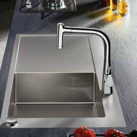 Hansgrohe Metris Select 2 hole single lever kitchen mixer 220 with pull-out spray and sBox chrome