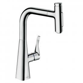Hansgrohe Metris Select M71 kitchen fitting 240 with pull-out dual spray chrome