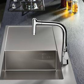 Hansgrohe Metris single lever kitchen mixer 220 with pull-out spray and sBox chrome