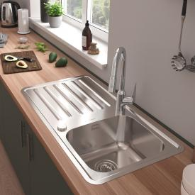 Hansgrohe S41 reversible built-in sink 340/400 with drainer with 2 boreholes