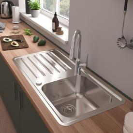 Hansgrohe S41 reversible built-in sink 400/400 with drainer with 2 boreholes