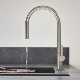 Hansgrohe Talis M54 single lever kitchen mixer with pull-out spray brushed stainless steel