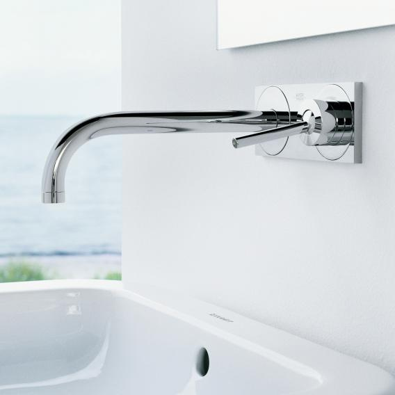 AXOR Uno wall-mounted single lever basin mixer with plate projection: 225 mm, chrome