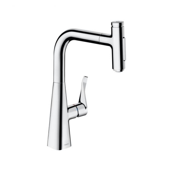 Hansgrohe Metris Select M71 single lever kitchen mixer 240, with pull-out spout and sBox chrome