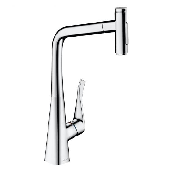 Hansgrohe Metris Select M71 single lever kitchen mixer 320, with pull-out spout and sBox chrome