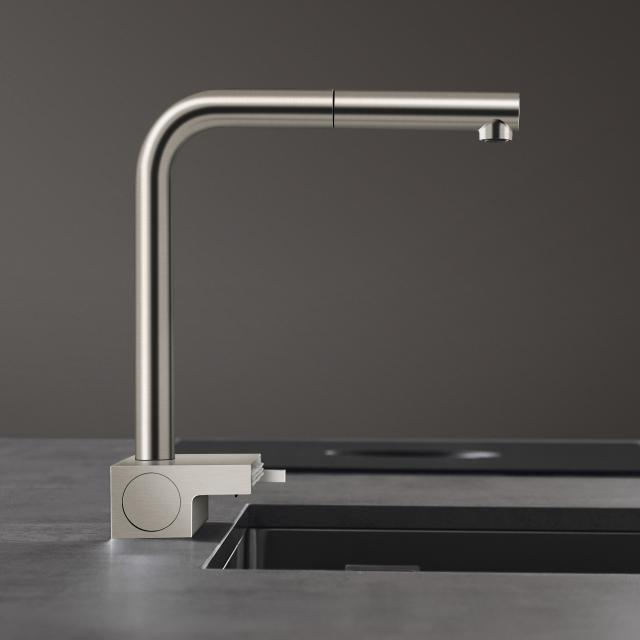 Hansgrohe Aquno Select M81 single lever kitchen mixer with pull-out spout and sBox brushed stainless steel