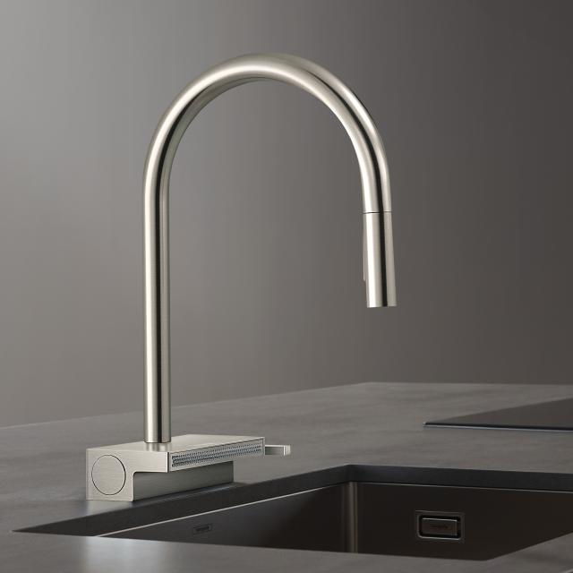 Hansgrohe Aquno Select M81 single lever kitchen mixer with pull-out spray brushed stainless steel