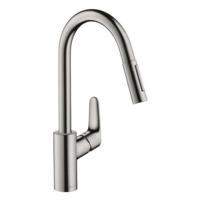 Hansgrohe Focus M41 single lever kitchen mixer 240 with pull-out spray and sBox stainless steel look