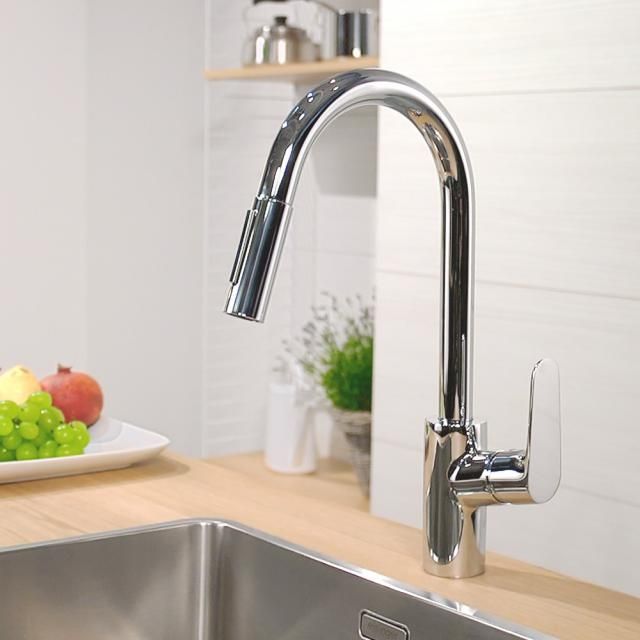Hansgrohe Focus M41 single lever kitchen mixer with pull-out spray chrome