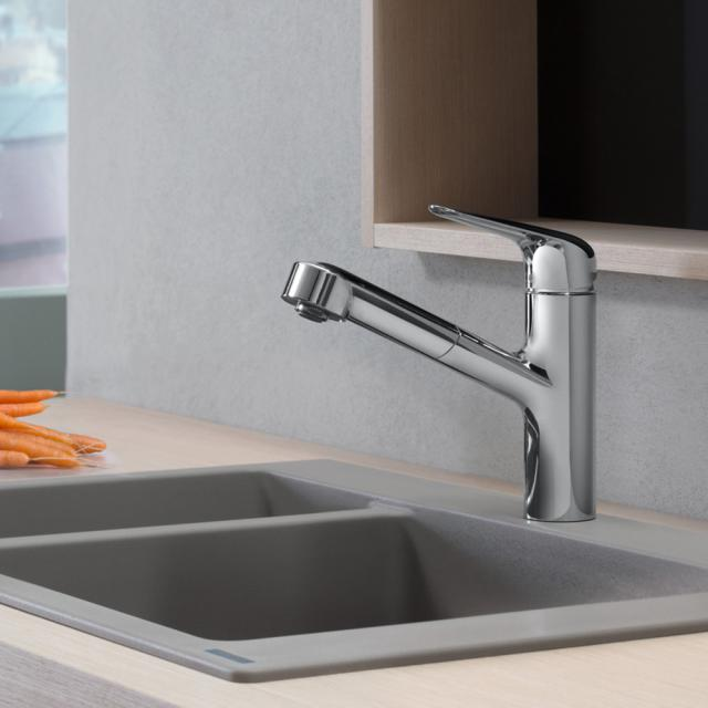 Hansgrohe Focus M42 single lever kitchen mixer 150, with pull-out spout chrome