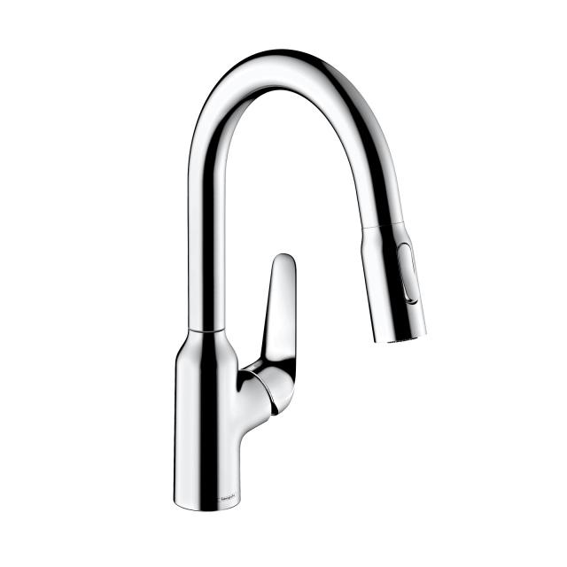 Hansgrohe Focus M42 single lever kitchen mixer 180, with pull-out spray chrome