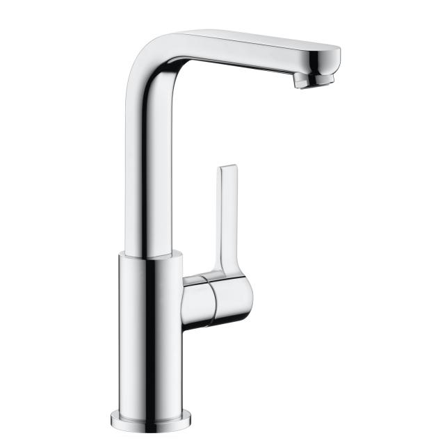 Hansgrohe Metris S single lever basin mixer, with swivel spout with push-open waste set