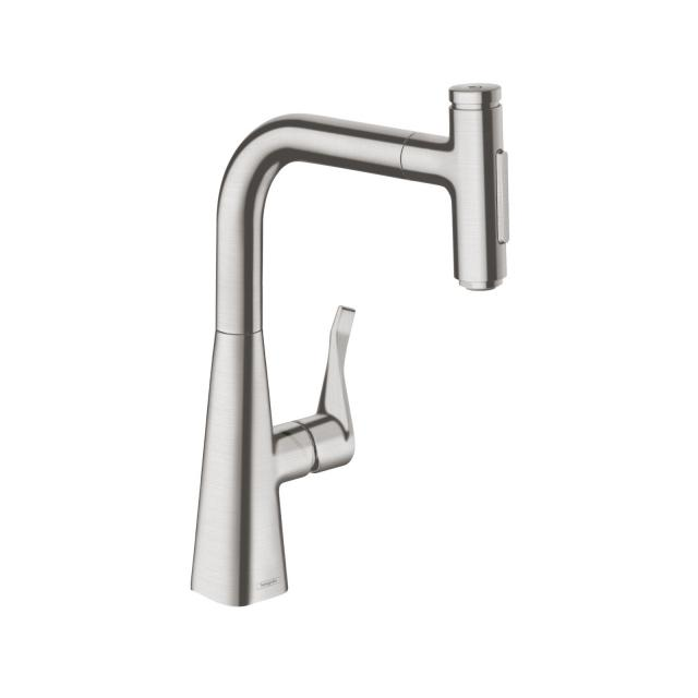 Hansgrohe Metris Select M71 single lever kitchen mixer 240, with pull-out spout and sBox stainless steel