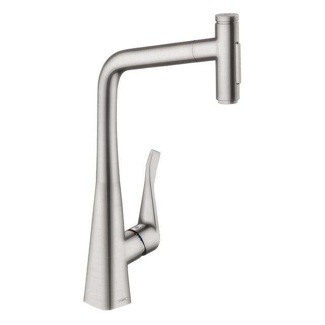 Hansgrohe Metris Select M71 single lever kitchen mixer 320, with pull-out spout and sBox stainless steel