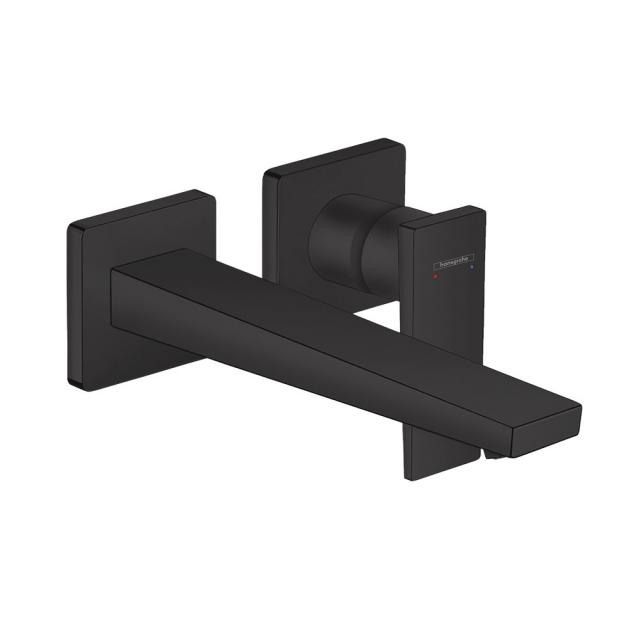Hansgrohe Metropol wall-mounted single lever basin mixer, with lever handle matt black, projection: 225 mm