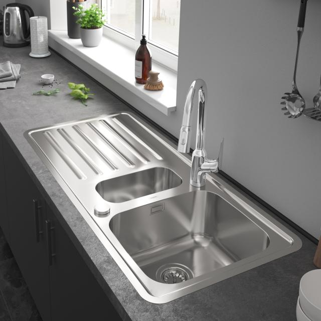 Hansgrohe S41 built-in sink 340/150/400 with drainer with 2 holes