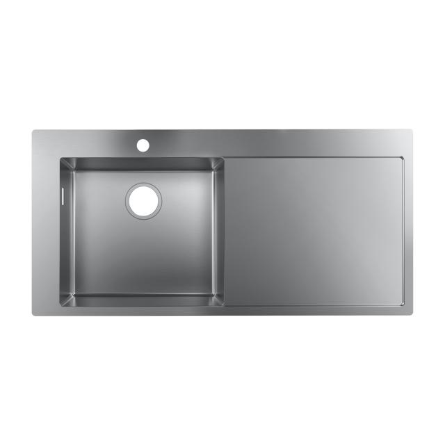 Hansgrohe S71 built-in sink 450 with draining board with 1 hole
