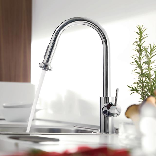 Hansgrohe Talis M52 Variarc single lever kitchen mixer with pullout spray chrome