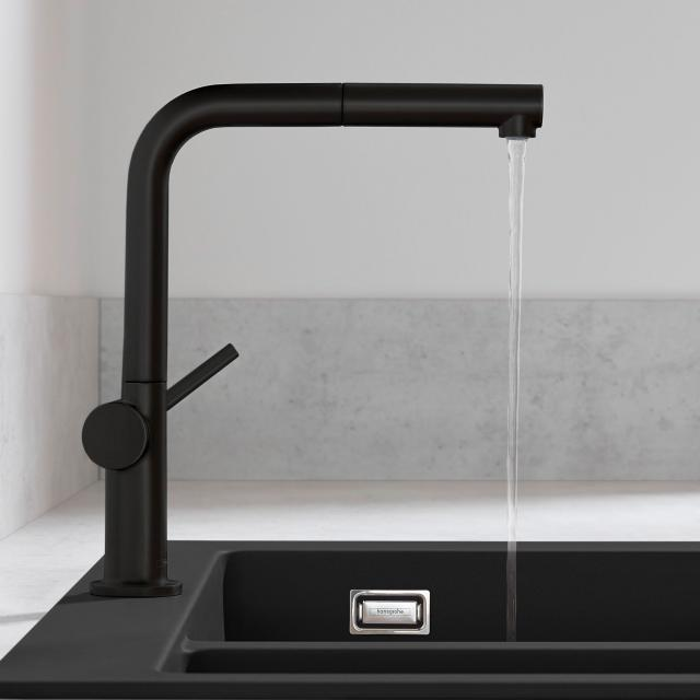 Hansgrohe Talis M54 single lever kitchen mixer with pull-out spout with sBox matt black