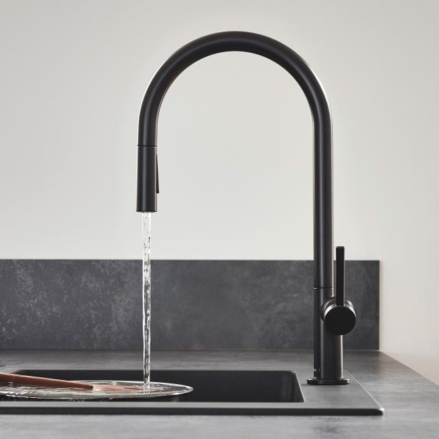 Hansgrohe Talis M54 single lever kitchen mixer with pull-out spray matt black