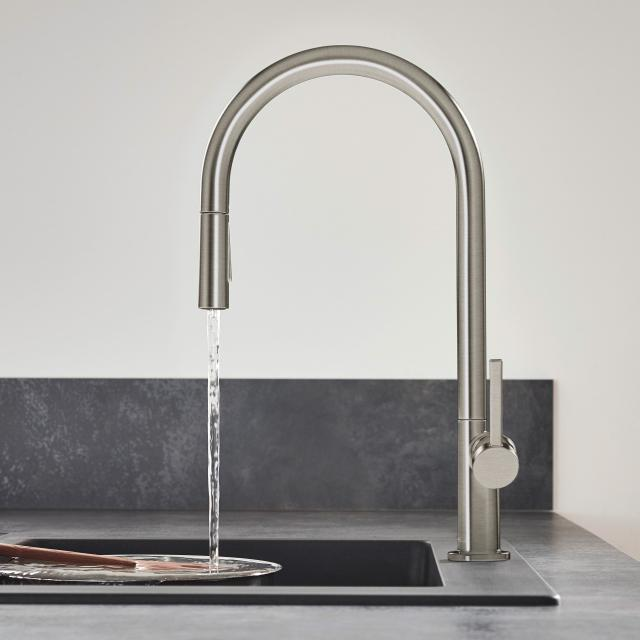 Hansgrohe Talis M54 single lever kitchen mixer with pull-out spray with sBox brushed stainless steel
