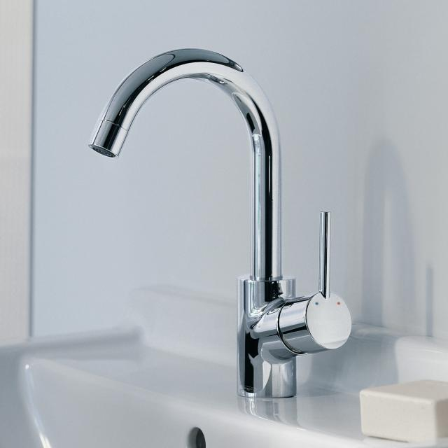 Hansgrohe Talis S single lever basin mixer with 360° swivel spout with pop-up waste set