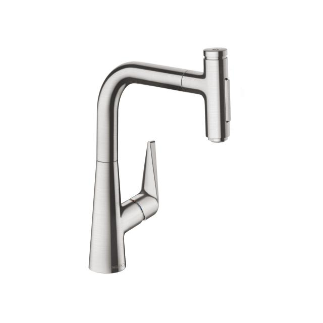 Hansgrohe Talis Select M51 single lever kitchen mixer 220, with pull-out spout and sBox stainless steel