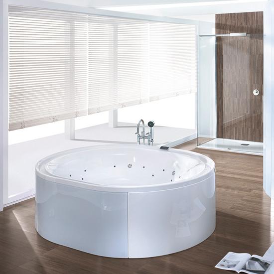 Hoesch ERGO freestanding oval whirlbath panelling: acrylic white/glass white