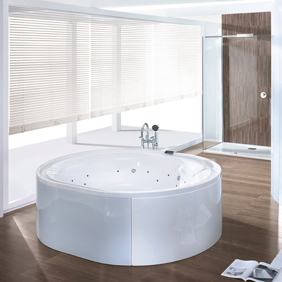Hoesch ERGO freestanding whirlpool panelling: acrylic white/glass white
