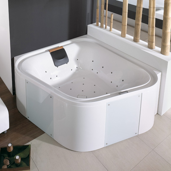 Hoesch ERGO square whirlbath with panelling panelling: acrylic white/glass white