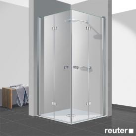 Reuter Kollektion Easy Neu bi-fold door corner entry TSG clear light PerlClean / chrome look