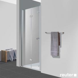 Reuter Kollektion Easy Neu bi-fold door in recess TSG clear light PerlClean / chrome look