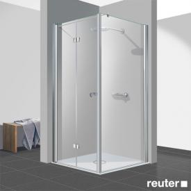 Reuter Kollektion Easy Neu bi-fold door with side panel TSG clear light PerlClean / chrome look