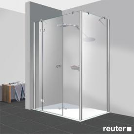 Reuter Kollektion Easy Neu 3 piece door with side panel TSG clear light PerlClean / chrome look