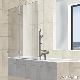 Reuter Kollektion Premium frameless bath screen, pivot door on fixed part