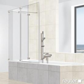 Reuter Kollektion Premium frameless bath screen, 2 piece on side panel