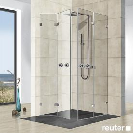 Reuter Kollektion Premium frameless corner entry with 2 folding doors