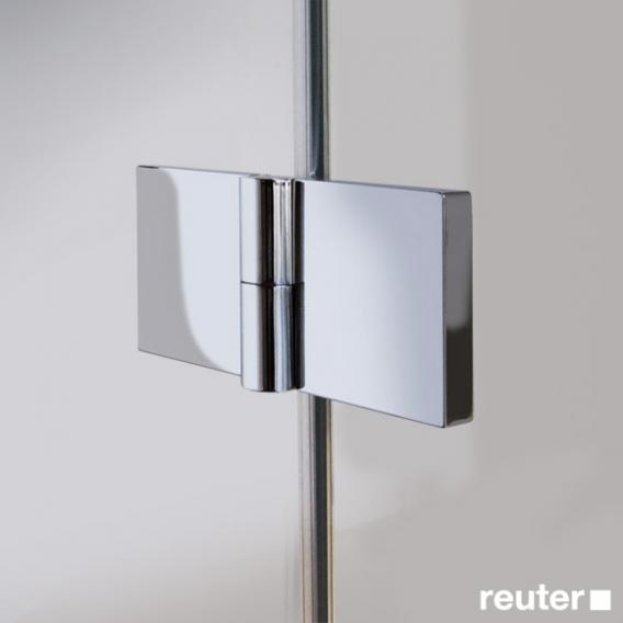 Reuter Kollektion Easy Neu bi-fold door with side panel TSG clear light PerlClean / chrome look