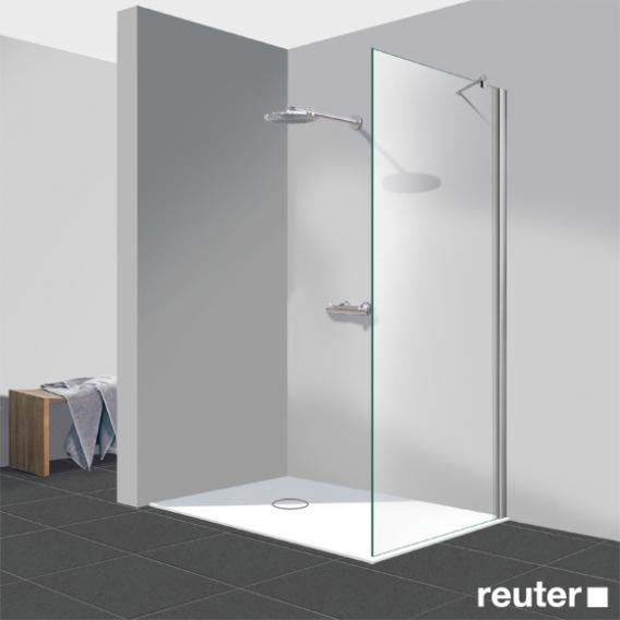Reuter Kollektion Easy Neu Walk In side panel light clear, with PerlClean / chrome look