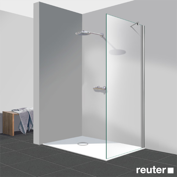 Reuter Kollektion Easy Neu Walk In side panel light clear, with PerlClean / chrome look