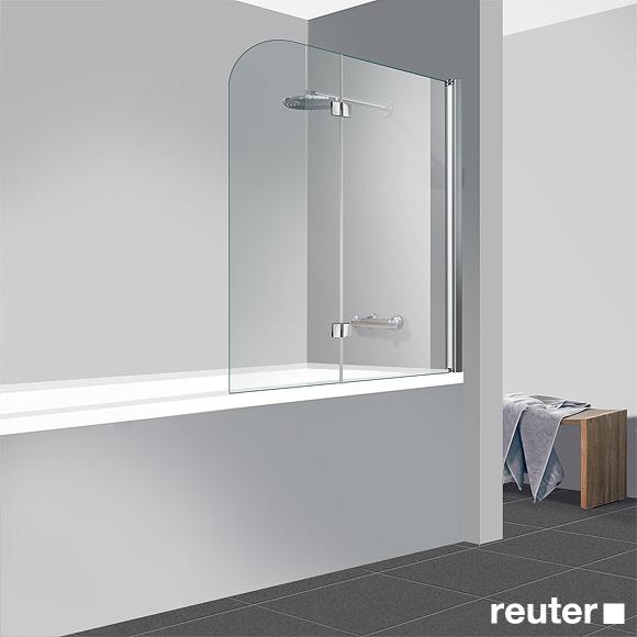 Reuter Kollektion Easy New bath screen, 2-piece panel TSG light clear Perl Clean / chrome look