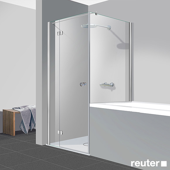 Reuter Kollektion Easy New door with short side panel TSG light clear Perl Clean / chrome look, STIM 87.5-90 cm