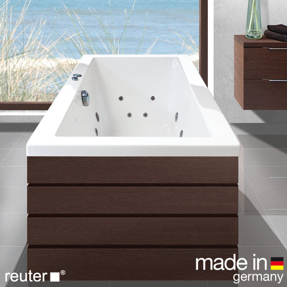 Reuter Kollektion Komfort rectangular whirlbath Premium, built-in with Hydra-Jet, with water inlet
