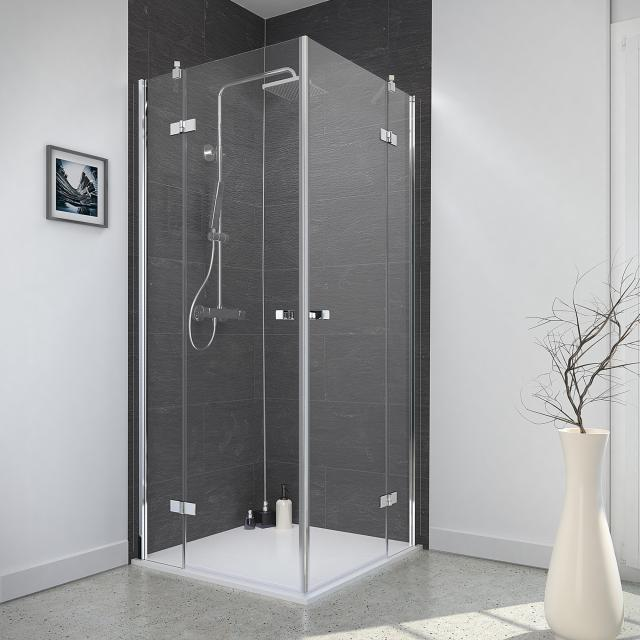 Reuter Kollektion Style corner entry with 2 hinged doors on side part