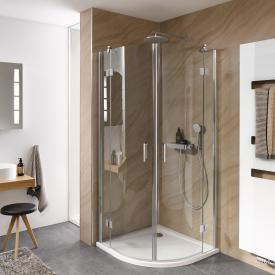 HSK Aperto quadrant two-way hinged door 4-part TSG light clear with shield coating / chrome look